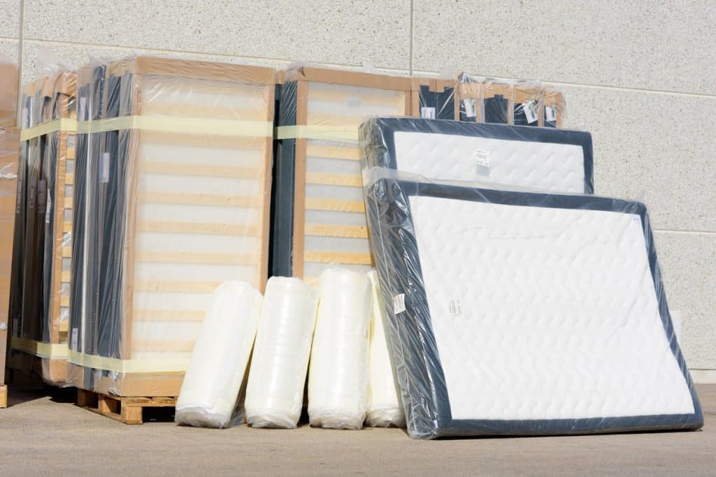 Mattresses stored in storage bags