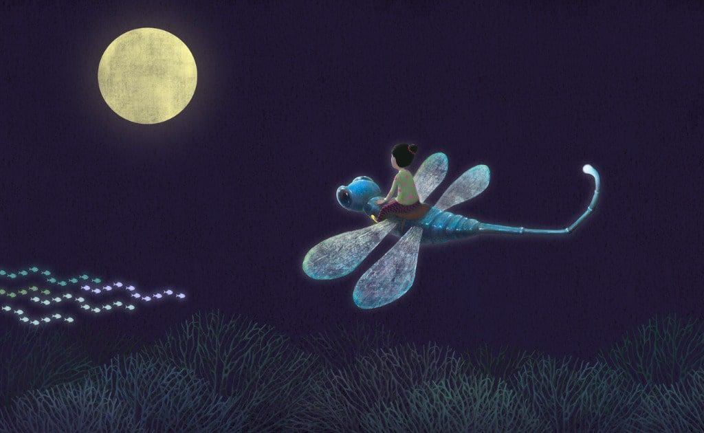 Girl riding giant dragonfly to the moon in dreams